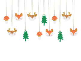 Kerst kado labeltjes C / gift tags 12 stuks