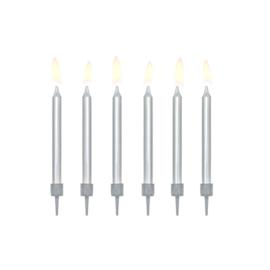 Verjaardagskaarsjes zilverkleurig - 6 stuks