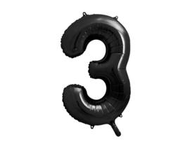 XL Cijfer ballon 3 zwart 86cm