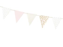 Vlaggenlijn wit /roze met patroon
