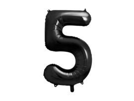 XL Cijfer ballon 5 zwart 86cm