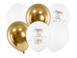 Ballonnen mix goud-wit Happy Birthday 6-delig