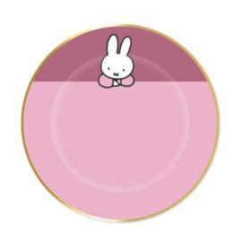 Nijntje bordjes baby roze/goud - 8 stuks