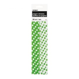 Papieren rietjes groen en wit met stippen - 10 stuks.