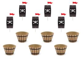 Cupcake set Piraat - 6 stuks