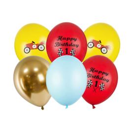 Happy Birthday ballonnen mix  1 jaar -  6 stuks