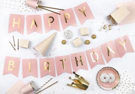 Vlaggenlijn Happy Birthday  goud-roze