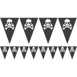 Piraten vlaggenlijn met doodskop 6 meter