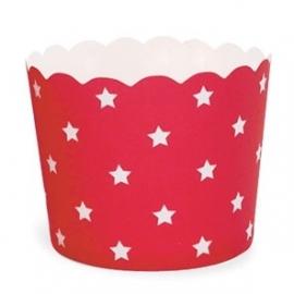Cupcake bekertje rood met witte ster