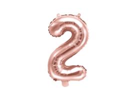 Cijfer ballon rosé kleurig - 2