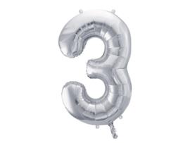 XL Cijfer ballon zilver - 3