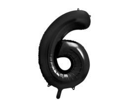 XL Cijfer ballon 6 zwart 86cm