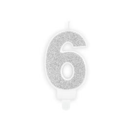 "Verjaardagskaarsje ""6"" zilver glitters"