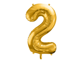 XL Cijfer ballon 2 goud  86cm