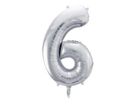 XL Cijfer ballon zilver - 6