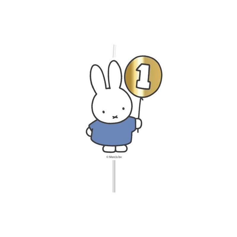 Nijntje 1e verjaardag-kaarsje blauw