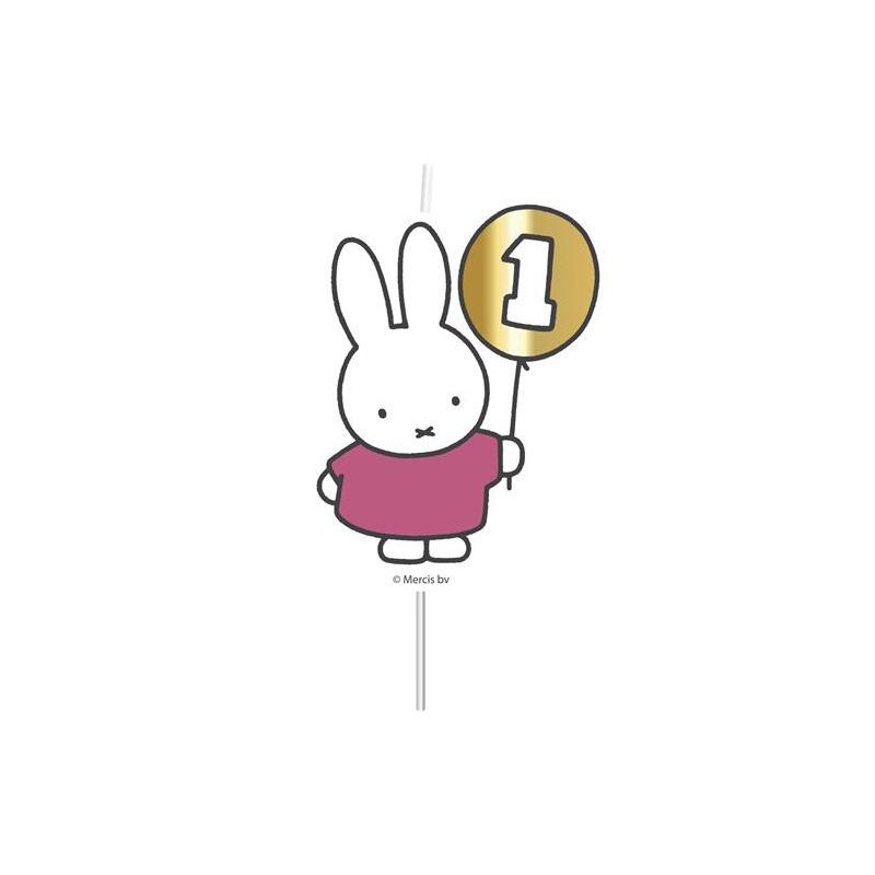 Nijntje 1e verjaardag-kaarsje roze