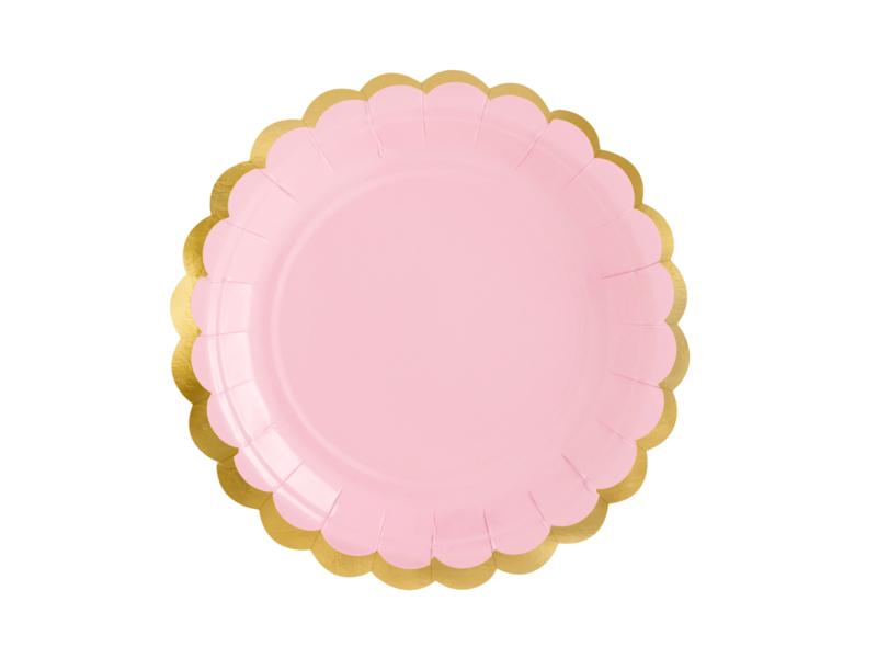 Bordjes licht roze met goud randje -  6 stuks