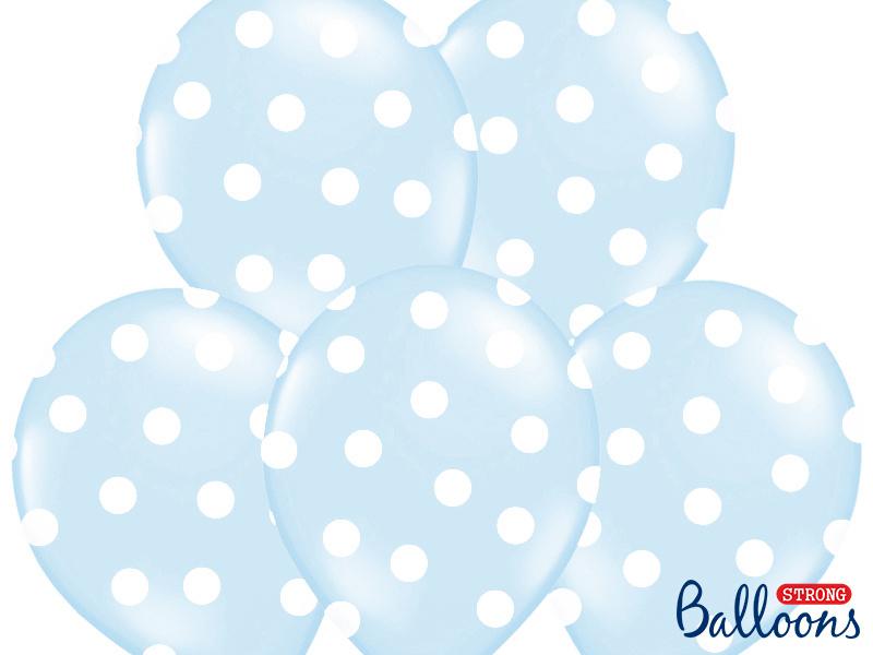 Ballonnen baby blauw met stippen - 6 stuks