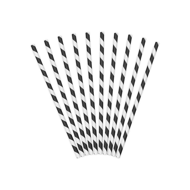 Papieren rietjes zwart-wit gestreept - 10 stuks