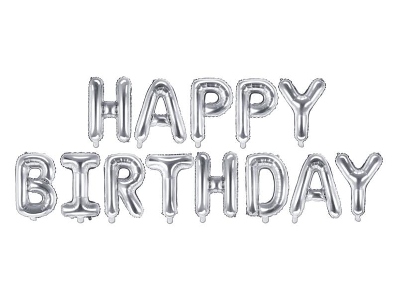 Tekst ballonnen Happy Birthday zilver