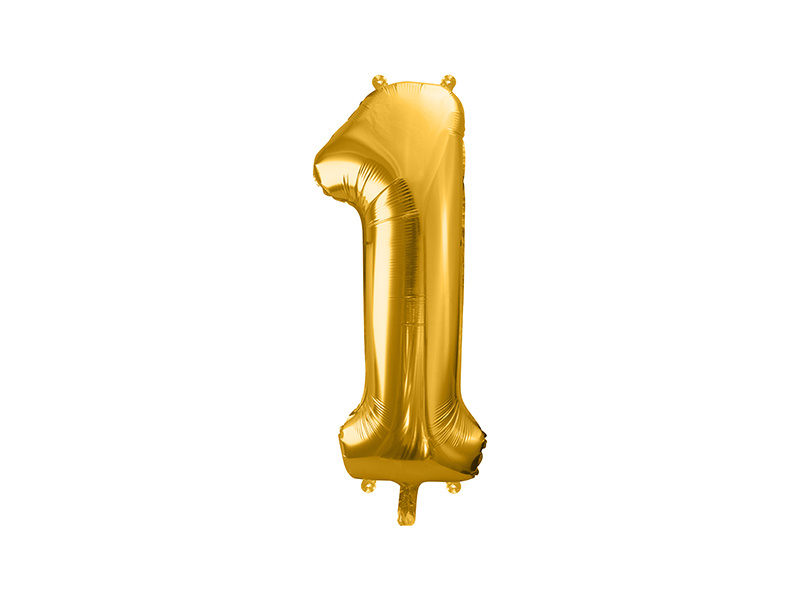 XL Cijfer ballon 1 goud  86cm