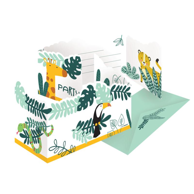Jungle Get Wild uitnodigingskaarten - 8 stuks