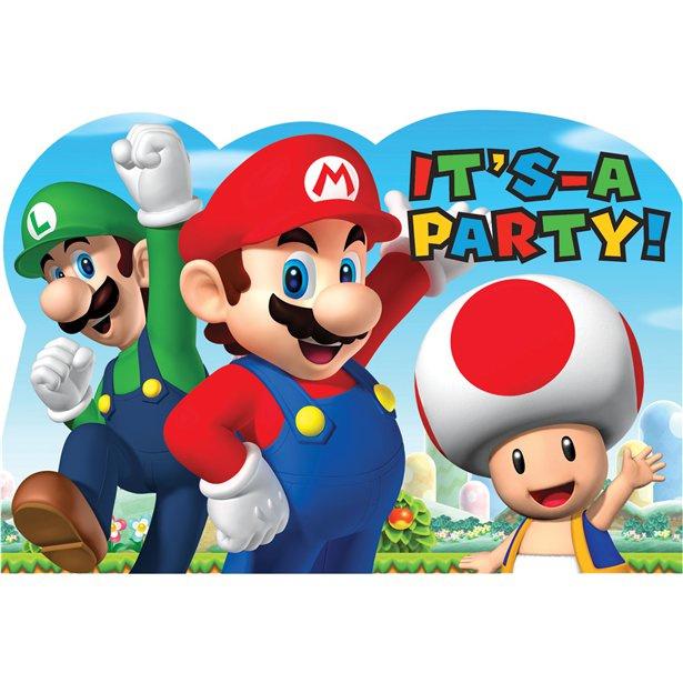 Super Mario feestje 8 uitnodigingskaartjes