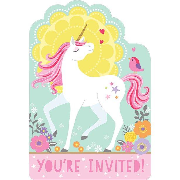 Unicorn uitnodigingskaartjes - 8 stuks