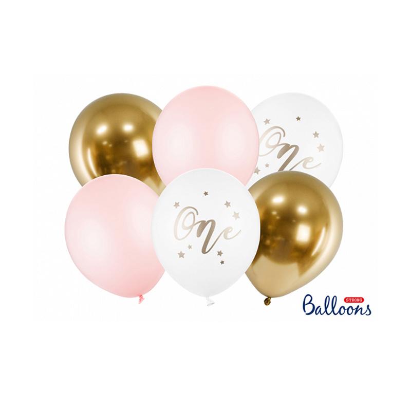 Balllonnen set roze 1 jaar - 6-delig