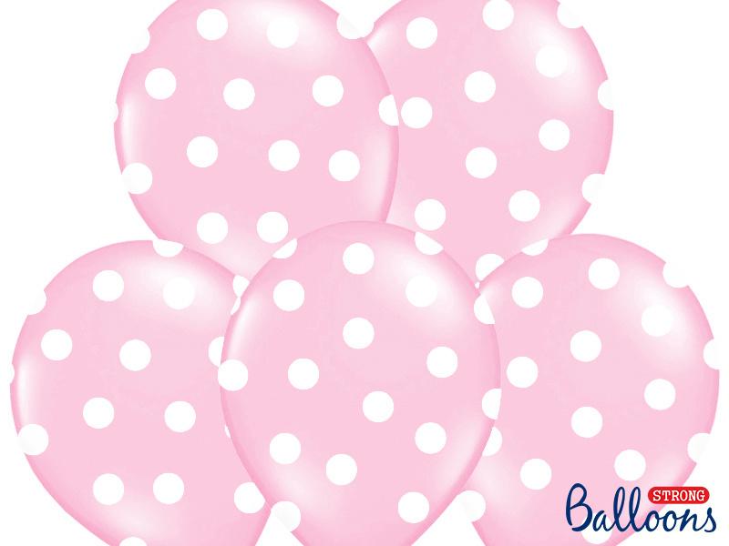 Ballonnen baby roze met stippen - 6 stuks