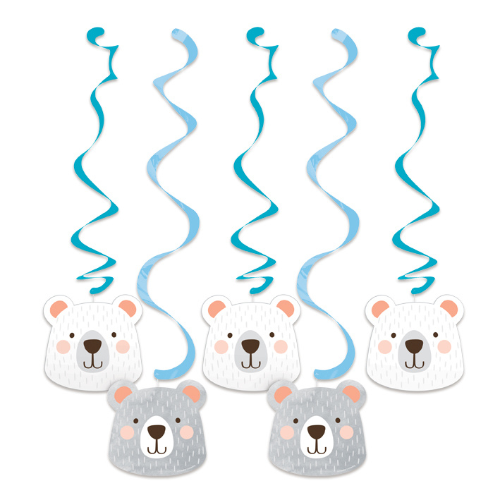 Hang decoratie Birthday Bear  5 stuks