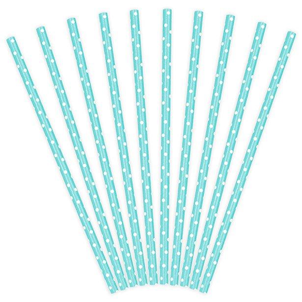 Papieren rietjes blauw met witte stip - 10 stuks