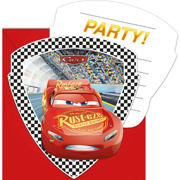 Cars feestje  6 uitnodigingskaartjes