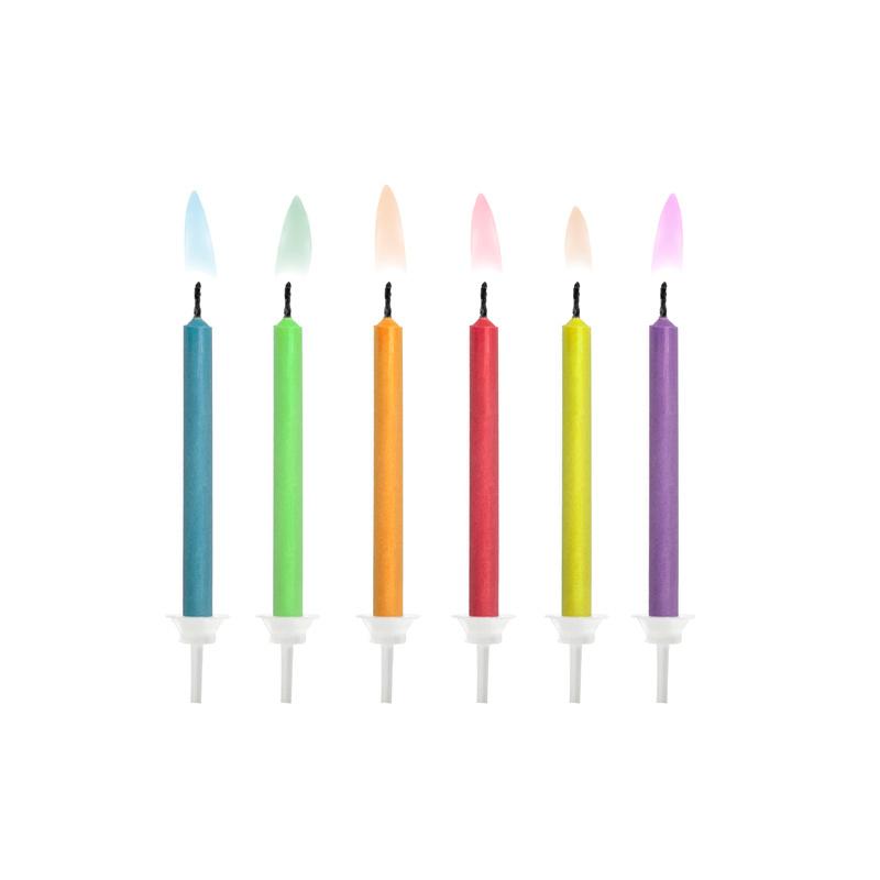 Verjaardagskaarsjes met gekleurde vlam - 6 stuks