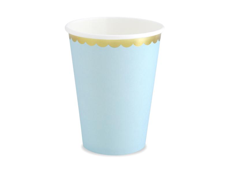 Bekertjes blauw met goud randje - 6 stuks
