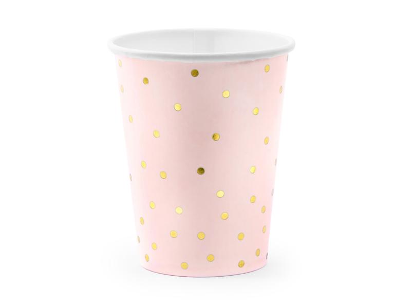 Bekertjes roze met gouden stipjes - 6 stuks