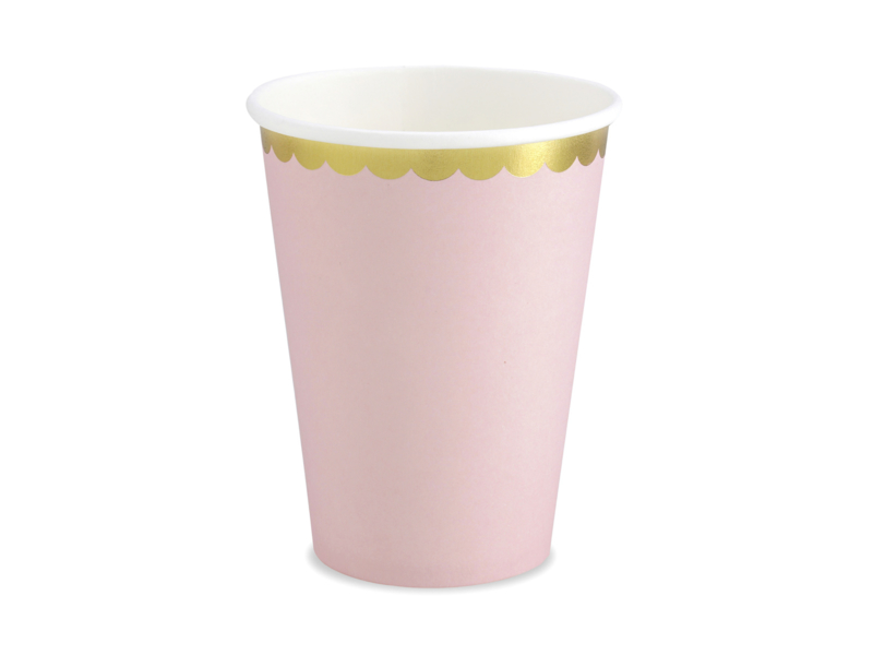 Bekertjes roze met gouden randje - 6 stuks