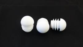 Bolkop inslagdop voor ronde buizen 22mm, wit