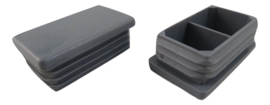 Inslagdop, platkop, rechthoekig, 50x30mm, grijs RAL 7040