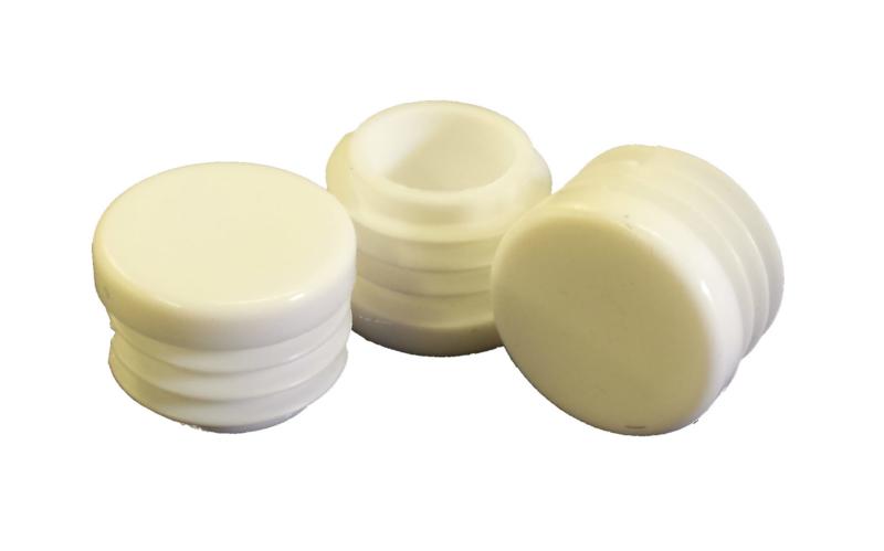 Insert cap, flat head, round tubes, 20mm, white