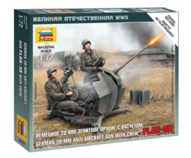 Zvezda 6117 German 20-mm Anti-Aircraft Gun Flak-38 with Crew