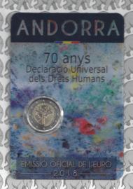 """Andorra 2 euromunt CC 2018 """"70e verjaardag vd Universele Verklaring vd Rechten van de Mens"""", in coincard"""