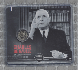 """Frankrijk 2 euromunt CC 2020 """"50e Sterfdag van Generaal de Gaulle"""", in blister"""