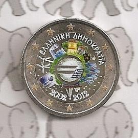 "Griekenland 2 euromunt CC 2012 ""10 jaar euro"" (kleur)"