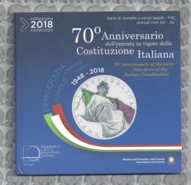 "Italië BU set 2018  ""70 jaar Italiaanse grondwet"", inclusief gekleurde 5 euromunt"