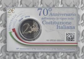 """2 euromunt CC 2018 """"70ste verjaardag van de inwerkingtreding van de Italiaanse grondwet"""" in coincard"""