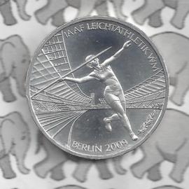 """Duitsland 10 euromunt 2009 (39e) """"IAAF Atletiek WM Berlijn 2009"""" (zilver)."""