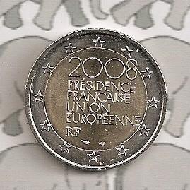 "Frankrijk 2 euromunt CC 2008 ""Voorzitter Europese Unie"""