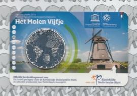 """Nederland 5 euromunt 2014 (28e) """"Het molen vijfje"""" (in coincard)"""